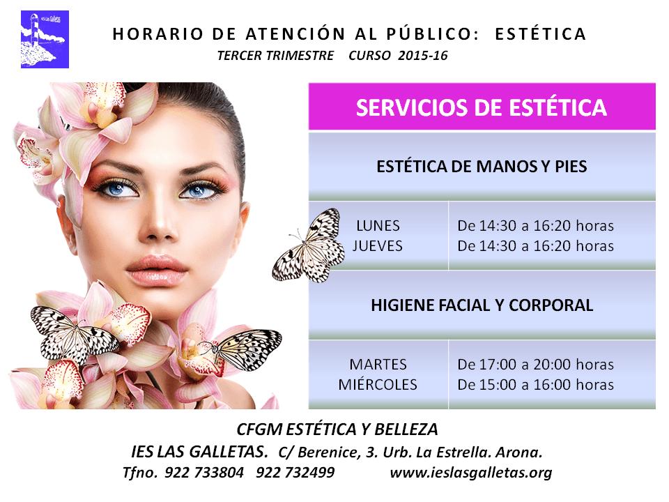 [HORARIOS] SERVICIOS DE IMAGEN PERSONAL