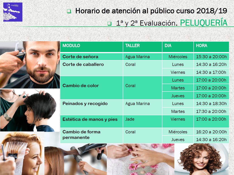Horario de Peluquería del Centro Curso 18/19